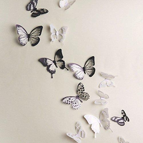 Adesivi Murali Farfalle Set di 18 Pcs Adesivi 3D da Parete della Decorazione Casa Adesivo Fai da te Ndier