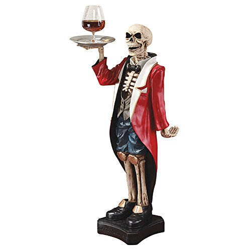 Design Toscano Bones the English Skeleton Butler Gothic Pedestal Table, 36 Inch, Polyresin, Full Color