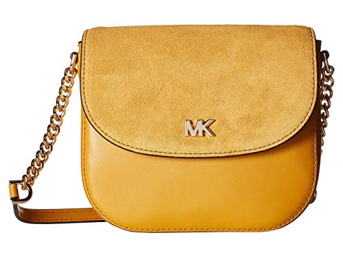 MICHAEL Michael Kors Leather and Suede Saddle Bag, Color 706 Marigold