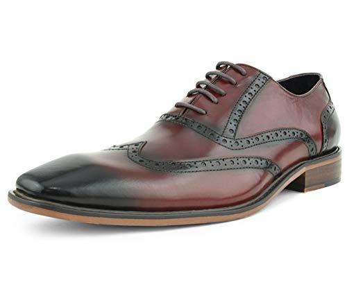 Asher Green Mens Genuine Leather Burnished Oxford Wingtip Dress Shoe, Lace-Up Style AG265 Burgundy
