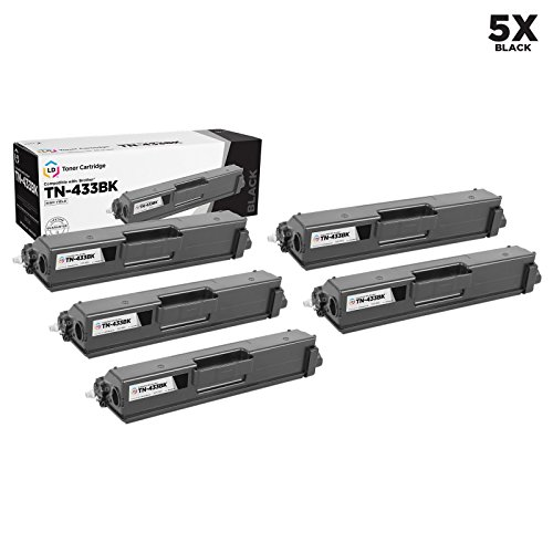 LD Compatible Toner Cartridge Replacement for Brother TN433BK High Yield (Black, 5-Pack) ()