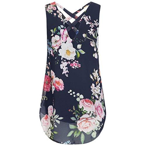 New Women Sexy Cami Top Sleeveless Chiffon Floral Print Cross Back Hem Layed Zipper V-Neck Blouse Vest Beach Blusa Navy -