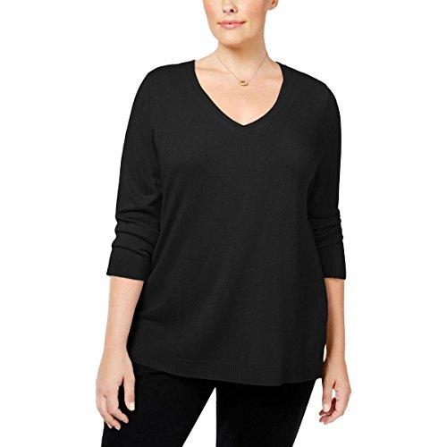 Karen Scott Womens Plus V-Neck Solid V-Neck Sweater Black (Scott V-neck Cardigan)
