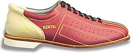 BSI Herren Leder Vermietung Bowling Schuhe - Schnürsenkel blau / weinrot / creme