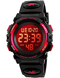 Kids Digital Sports Watch for Boys Girls, Boy Waterproof Casual Electronic Analog Quartz 7 Colorful Led Watches with Alarm Stopwatch Silicone Band Luminous Wristatches (Black Red)