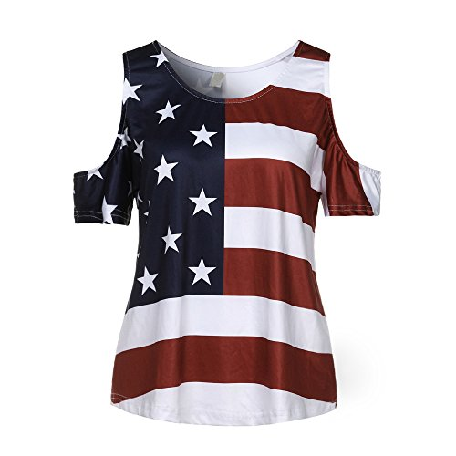Leisuraly Women's Casual T Shirt V Neck Cold Shoulder Tops Short Sleeve Tshirt Patriotic Flag Blouse