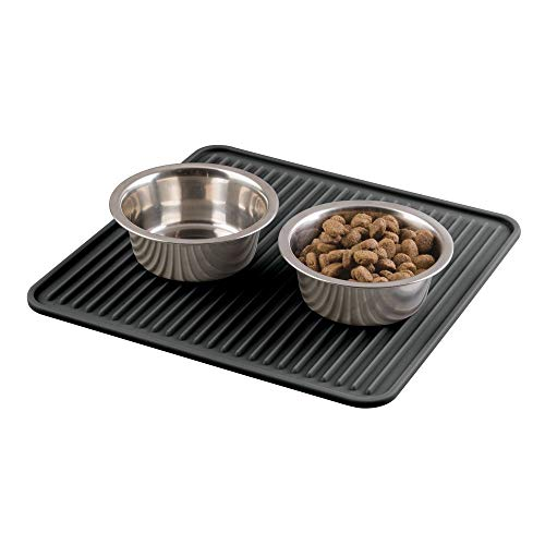 (mDesign Premium Quality Square Pet Food and Water Bowl Feeding Mat for Dogs and Puppies - Waterproof Non-Slip Durable Silicone Placemat - Food Safe, Non-Toxic - Medium - Black)