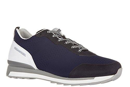 Hogan Rebel Zapatos Zapatillas de Deporte Hombres EN Piel Nuevo r261 3D Blu