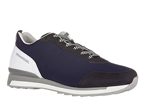 Hogan Rebell Mens Skor Läder Utbildare Sneakers R261 3d Blu