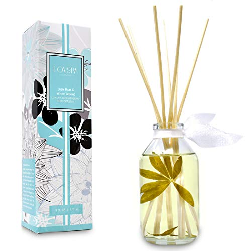 LOVSPA Lush Palm & Jasmine Reed Sticks Oil Diffuser | Tranquil Scent Made with Premium Essential Oils | Green Palm, Jasmine, Lily of The Valley & Earthy Notes | Great Gift for The Home - Jasmine Home Fragrance