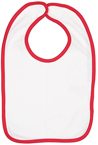 (Rabbit Skins Infant 100% Cotton Premium Jersey Contrast Trim Bib (White/Red, One Size Fits All) )