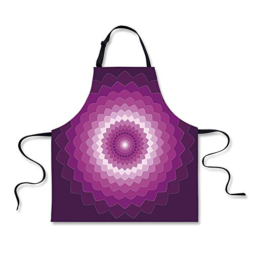 Custom Apron,Purple,Graphic Carnation Flower Symbol Optical Illusion Symmetric Vibrant Display,Purple Magenta White,Home ()