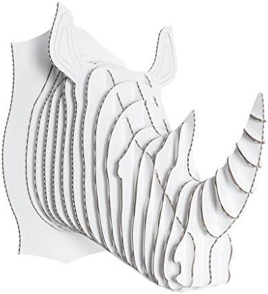 Cardboard Safari Recycled Cardboard Animal Taxidermy Rhino Trophy Head, Robbie White Large