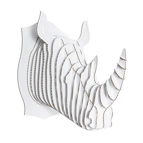 Cardboard Safari Recycled Cardboard Animal Taxidermy Rhino Trophy Head, Robbie White Large ()