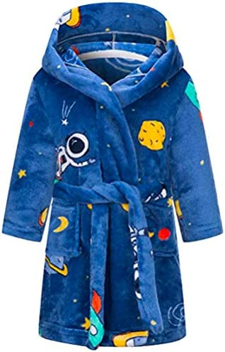 Kids Soft Flannel Hooded Bathrobes for Boys and Girls