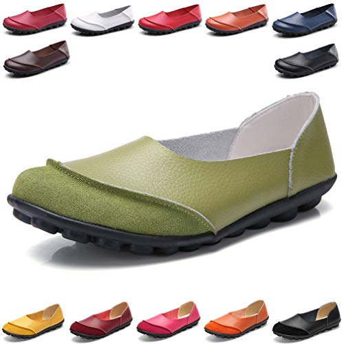- Hishoes Women's Leather Loafers & Slip-Ons Flats Driving Walking Casual Moccasins Soft Sole Shoes Green
