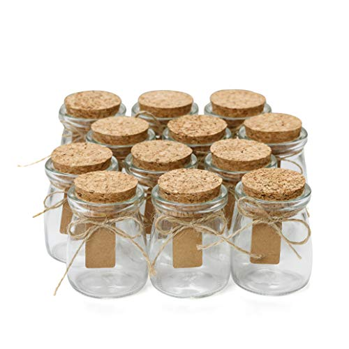 Glass Favor Jars With Cork Lids - Mason Jar Wedding Favors Apothecary Jars Honey Pot Bottles With Personalized Label Tags and String - 3.4oz [12pc Bulk Set] Ideal For Spices, Candy and Candle Making -