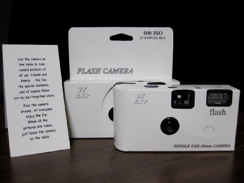 10 Pack Classic White Wedding Party Disposable Cameras with Gift Box and Matching Tents, 27 Exp. (Camera Disposable White)