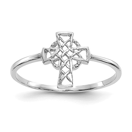 14k White Gold Irish Claddagh Celtic Knot Cross Religious Band Ring Size 7.00 Fine Jewelry Gifts For Women For Her