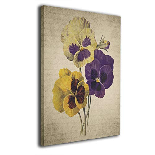 BLI Vintage Pansy Flower Home Decor Canvas Painting 16x20 Inch Kitchen Decorations Wall Picture Abstract Artwork for Bathroom Living Anywhere ()