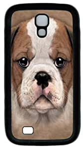 Cool Painting Bulldog Puppy PC Silicone Case Cover for Samsung Galaxy S4/I9500
