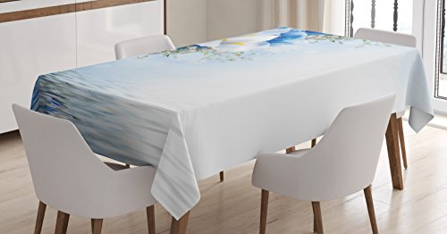 Dreamy Hydrangea (Ambesonne Blue and White Tablecloth, Blue Hydrangeas and White Irises Over The Sea Romantic Bouquet Dreamy, Dining Room Kitchen Rectangular Table Cover, 52 W X 70 L inches, Blue White Yellow)