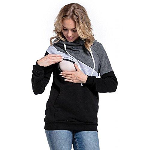Helen-sky Pregnant Nursing Hoodie Long Sleeve Breastfeeding Pullver Top Maternity Nursing Sweatshirt Pregnant Blouses (M, Dark Grey +Black) (Maternity Pullover)