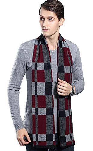 LALIFIT Men's Winter Cashmere Scarf Plaid Stripes Warm Soft Scarves with Tassel(Grid)