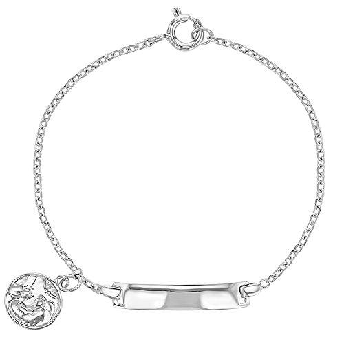 925 Sterling Silver Identification Tag ID Guardian Angel Medal Bracelet Children 5.5