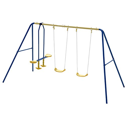 Costzon Kids Swing Set, Double Face to Face Swing Chair & Glider Set, A-Frame Outdoor Metal Swing Set for Backyard Playground