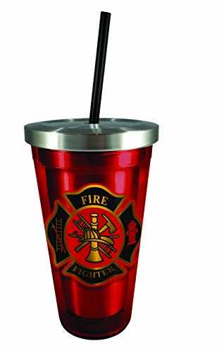 ter Stainless Steel Cup with Straw, , Red (Firefighter Cups)