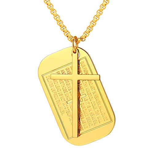 FaithHeart Cross Pendant Necklace, Jewelry Gold Plated Bible Verse Dog Tag Charms Necklace Accessories (Gold)