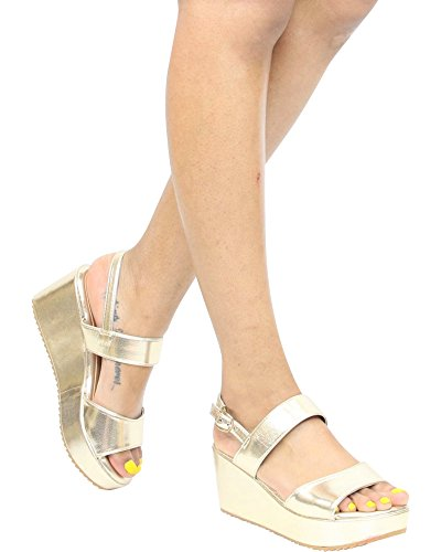 Bamboo Womens Soft Comfort Open Toe Summer/Spring Wedge Sandals Gold