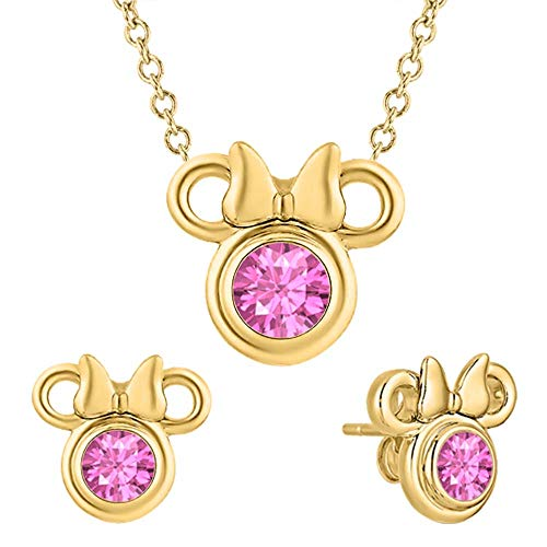 - RUDRAFASHION Cute Mickey Mouse 14k Yellow Gold Over .925 Sterling Silver Pink Sapphire Earring Pendant Set for Girl's