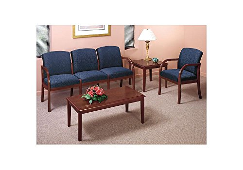 Four Person Capacity Transitional Reception Seating Group Weight: 145 lbs Navy Fabric/Cherry - Reception Transitional Seating Lesro