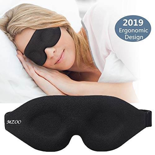 ZGGCD 3D Sleep Mask, New Arrival Sleeping Eye Mask for Women Men, Contoured Cup Night Blindfold, Luxury Light Blocking Eye Cover, Molded Eye Shade with Adjustable Strap for Travel, Nap, Yoga, Black
