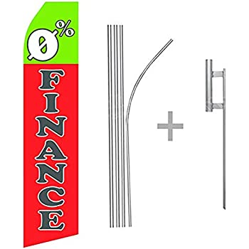 wall26 0% Finance Econo Flag | 16ft Aluminum Advertising Swooper Flag Kit with Hardware
