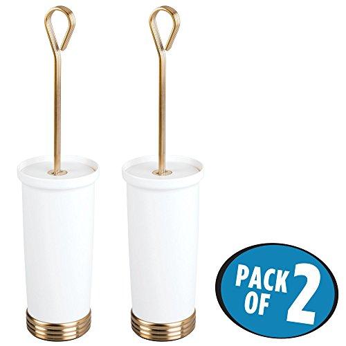 mDesign Toilet Bowl Brush and Holder for Bathroom Storage - Pack of 2, White/Soft Brass - White Toilet Bowl