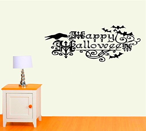 xnhga Vinyl Art Mural Wall Quote Saying Stickers Happy Halloween Bats and Crow Quotes for Kids Rooms Nursery Halloween Party for Bedroom Living Room -