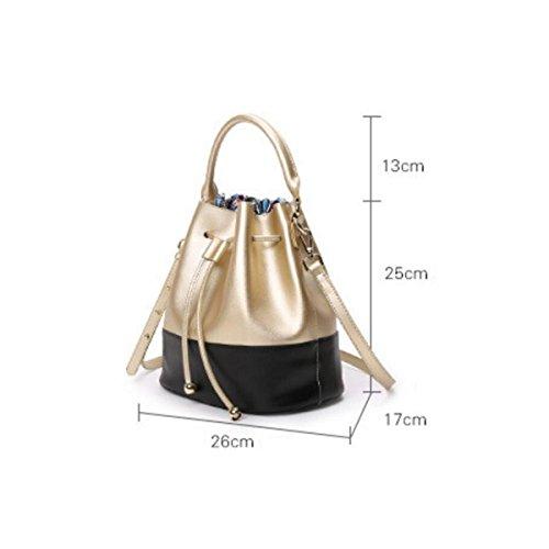 Shoulder Bag Drawstring Lightblue Handbag Bucket Diagonal Spell Handbags Fashion Package Casual Atmosphere Leather Color aXUzzq