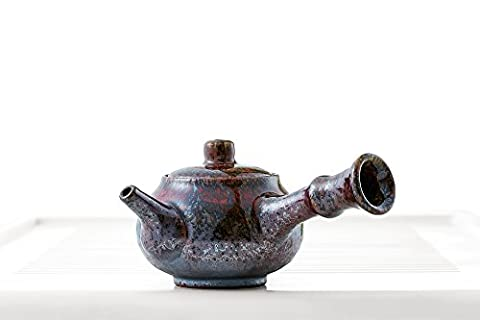 Guangxi Chinese Teapot with Wood Handle Mottled Glaze Teapots Clay Taiwanese Teaware (deer brown) - Glaze Wood Cabinets