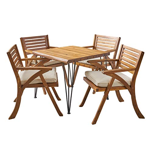 Christopher Knight Home Lane Outdoor Industrial Wood and Wicker 5 Piece Square Dining Set, Teak and Crème