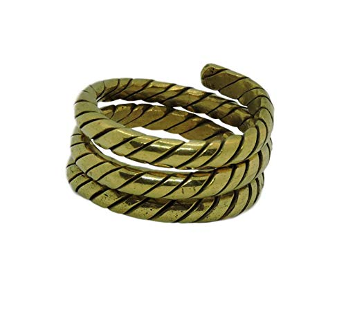 (Hands Of Tibet Tibetan Om Mani Padme Hum Healing Ring (Brass Spiral)