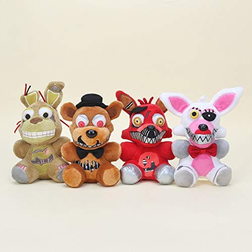 PAPCOOL Set 4 FNAF Plush Toys 5 inch Hot Toy Foxy Bonnie Freddy Bear Mini Cute Stuffed Keychain Sister Location Dolls Christmas Halloween Collectable Gift Gifts Stuff Collectible Collectibles for Kids]()