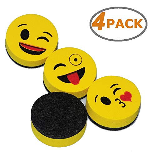 Wekoil Magnetic Dry Erase Erasers Whiteboard Eraser Chalkboard Eraser 2 inch Cute Emoji Erasers with Felt for Kids Teachers Classroom Office Home,Pack of 4 (Chalkboard Lapboards)