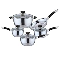 9 Piece Non-Stick Stainless Steel Cookware Set Color: Black