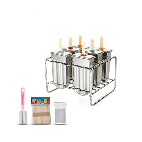 Stampo per ghiaccioli in acciaio INOX con base di supporto per bastone da freezer set di 6 1 spesavip