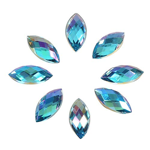 500Pcs in Bulk 7X15mm Crystal AB Acrylic Flatback Rhinestones Eye Shaped Diamond Beads for DIY Crafts Handicrafts Clothes Bag Shoes Wholesale, Blue AB