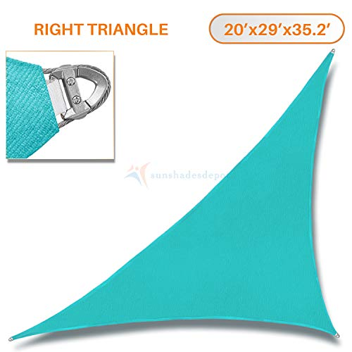 TANG Sunshades Depot A Ring Design Steel Cable Wire Reinforcement 20'x29'x35.2' Right Triangle Sun Shade Sails Turquoise Heavy Duty Permeable 260GSM UV Block Patio Garden Deck Dock Outdoor Facility