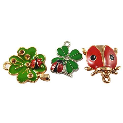 Enamel Bug - JulieWang 15pcs Mixed Enamel Clover Ladybug Charms Pendants for Jewelry Making